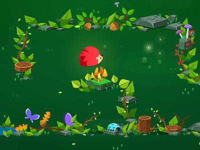Maze forest work in progress vector maze critter animal fireflies nature wood forest flat game art game hedgehog