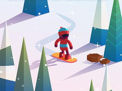 Arctic Smash game house cabin mountain vector art winter wonderland sled game art snowboard winter ski snow