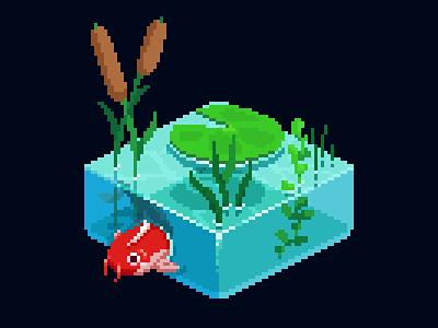 Isometric Pond pixel art creature illustration cute game art 80s nature illustration isometric water koipond koi fish koi 16bit retro pixel pixelart nature pond