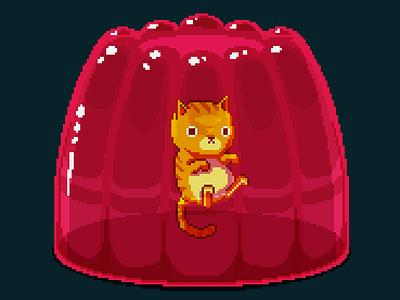 Jelly cat pixel illustration game art creature video game retro 80s cute animals cute art pixelartist pixel art pixelart characterdesign character design cute kitten cat jelly