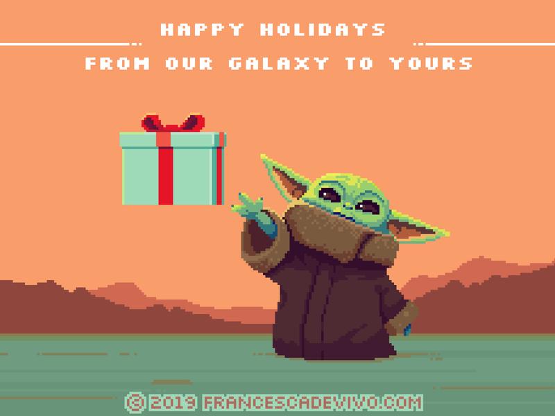 Happy Holidays from our Galaxy to Yours mandalorian babyyoda yoda holidays christmas card starwars christmas illustration creature cute video game pixelart pixel retro 80s game art pixel art