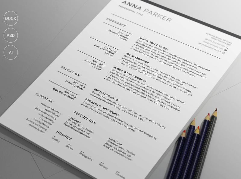 Resume/CV docx word minimal black cv design editable resume professional resume creative resume infographic resume modern resume female resume diy resume word resume printable resume resume template photoshop resume curriculum vitae cv design elegant resume clean resume