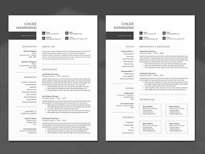 Minimal Resume docx word minimal black cv design editable resume professional resume creative resume infographic resume modern resume female resume diy resume word resume printable resume resume template photoshop resume curriculum vitae cv design elegant resume clean resume