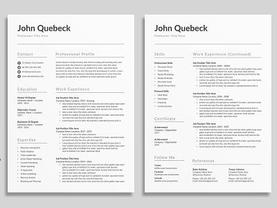 Resume Template / CV docx word minimal cv design editable resume professional resume creative resume infographic resume