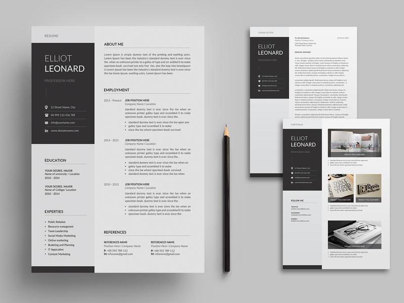 Resume/CV resume clean resume professional portfolio resume portfolio modern resume modern minimalist letter infographic feminine female resume elegant resume elegant design cv clean a4 3 page 2 page