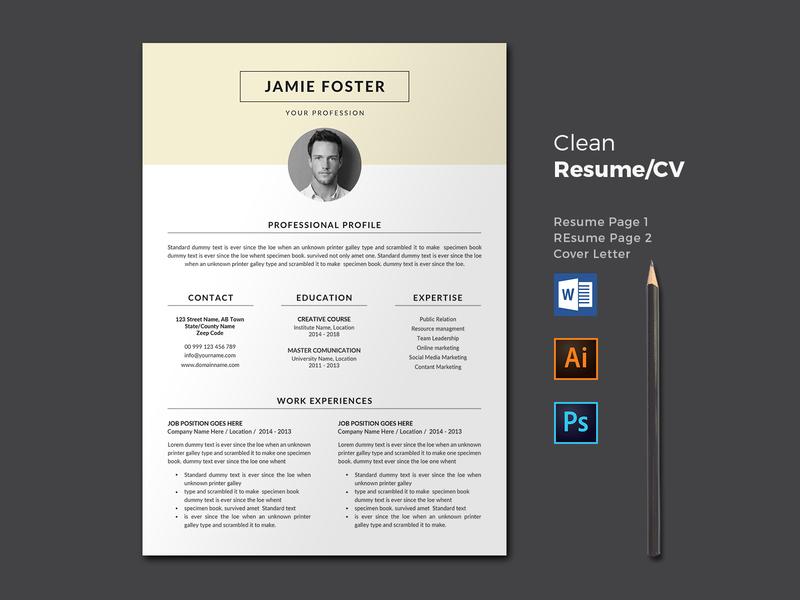 Resume/CV resume clean resume professional portfolio modern resume modern minimalist letter infographic feminine female resume female elegant resume elegant design cv clean a4 3 page 2 page