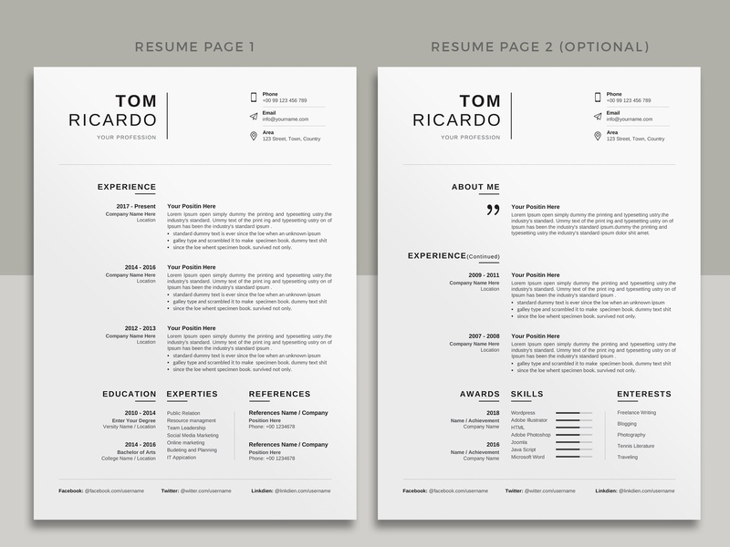 Resume Template Cv By Designsbird On Dribbble