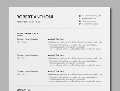 Resume Template By Designsbird On Dribbble