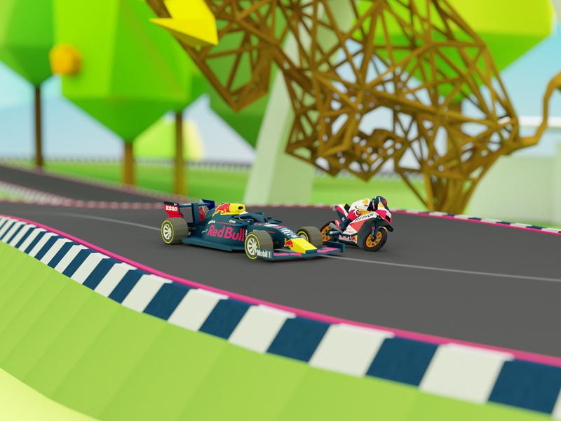 Red Bull Racing game speed road metal bull circuit lowpoly 3d game racing race bike car motogp formula1