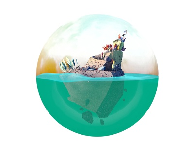 The ogre of the hill ocean water trees island wolf illustration hill ogre 3d