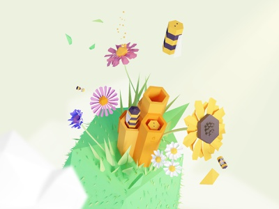 World Bee Day lowpoly 3d geometric illustration colors yellow flower day bee