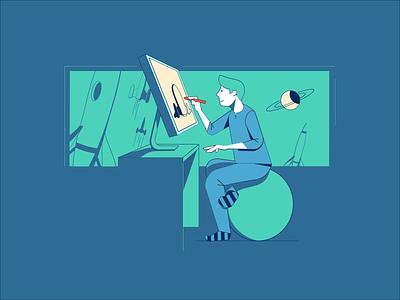Space quest - goals desk sky planets starts spaceship space architect man astronaut corporate illustration