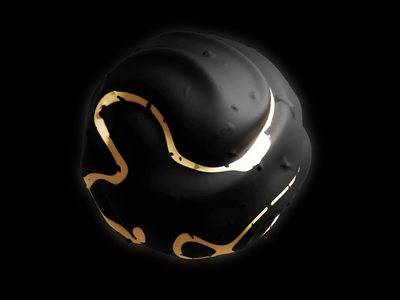 Black Planet sky space 3d texture procedural gold black tiny planet