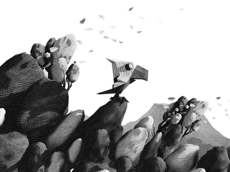 Eagle mountain scratching hatching illustration white black leaves trees rocks hill eagle