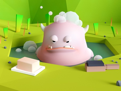 Gluton, angry monster illustration forest 3d low poly bath monster