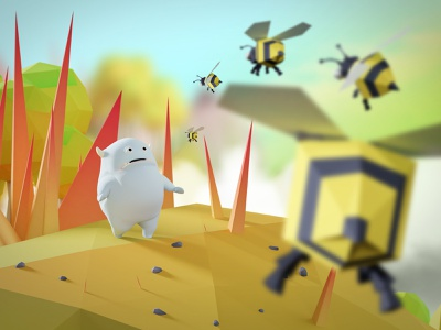 Gluton scared fear scared lowpoly bees illustration