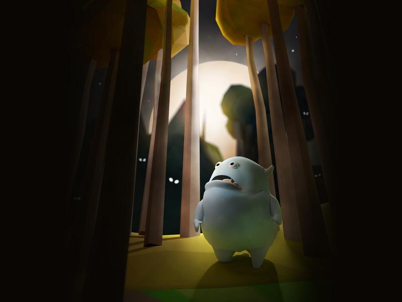Gluton, scared monster illustrator scary scared dark lowpoly illustration 3d monster