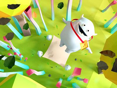 Gluton, happy monster medal jump lowpoly illustration monster