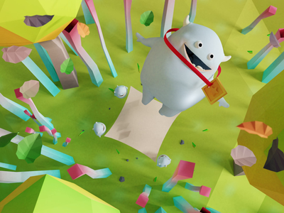Gluton, happy monster medal forest monster low poly animation 3d illustration