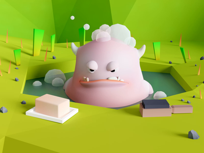 Gluton, angry monster angry bath forest monster low poly animation 3d illustration