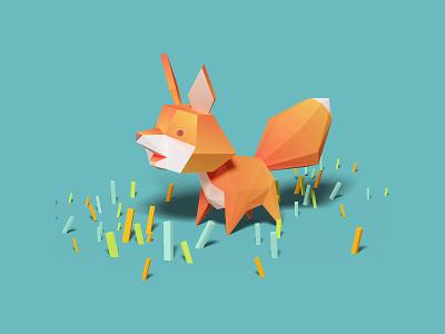 Fox game 3d children lowpoly character cute orange fox illustration