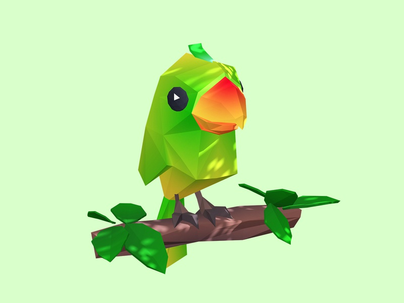 Parrot green leaf tree cute parrot interactive low poly children game 3d illustration