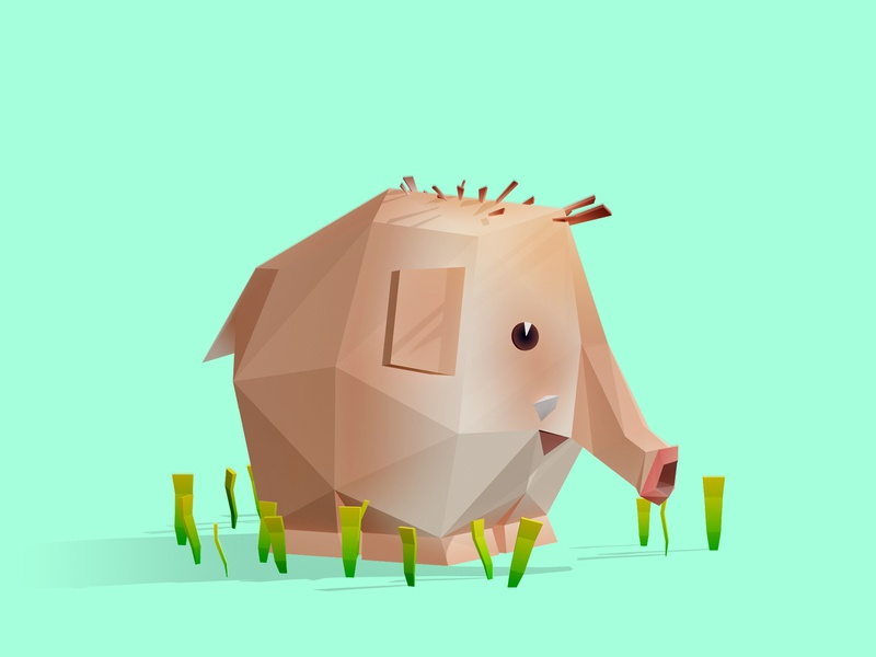 Elephant cute elephant interactive low poly children game animation 3d illustration