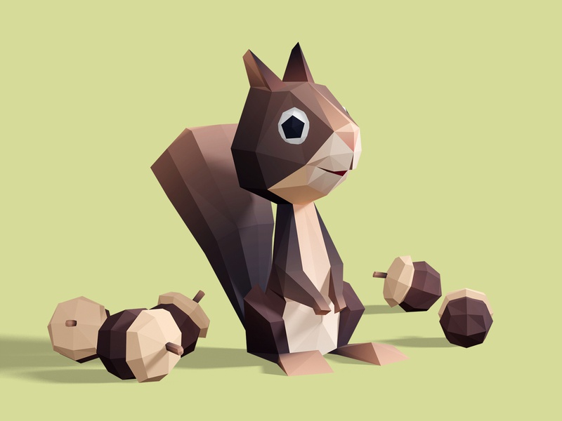 Squirrel brown nuts squirrel cute interactive low poly children game animation 3d illustration