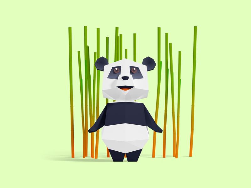 Panda white black green bamboo panda cute interactive low poly children game animation 3d illustration