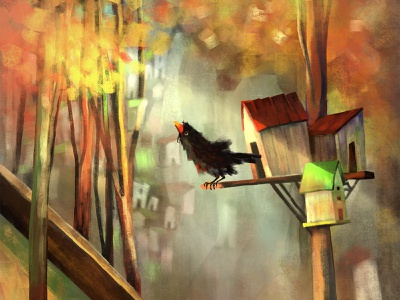 black bird epicagency agency epic procreate digital yellow green brown red light blur illustration hut autumn tree forest bird black