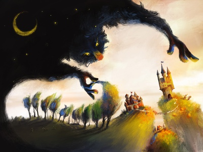 Night taking over the kingdom story children digital illustration monster trees mountain hill sky moon queen king castle dawn day night