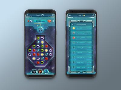 Sci-Fi Match 3 Game UI leaderboard gameui uidesign interface design scifi space mobile game mobile match match3 game ux ui game ui