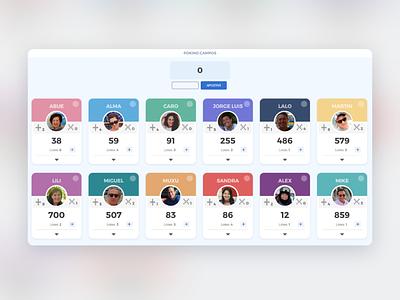 Pokino Scoreboard ux pokino family game scoreboard game ui interface design user interface ui uidesign