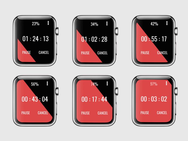 Countdown Timer red and black smartwatch app smartwatch apple watch countdown timer user interface uidesign ui dailyui 014 dailyui