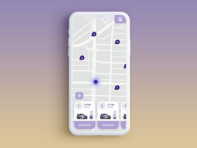 Location Tracker  - Car Sharing Concept App location app location tracker location mobile app car share maps car app uidesign user interface design app dailyui 020 dailyui ui