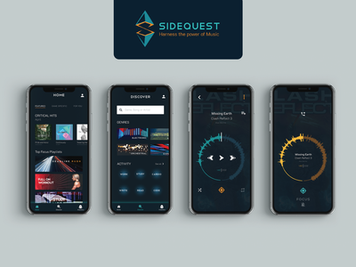 Sidequest - Harness the power of music brand design interface video game music app music app design design app user interface uidesign ui