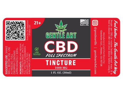 CBD Product Label for Gentle Art