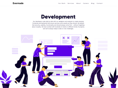 Development - landing page for Evermade