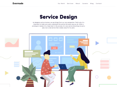 Service Design - Landing page for Evermade