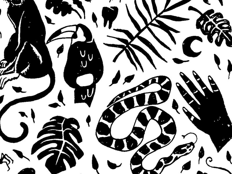 Mighty Jungle moon monkey pattern leaf hand toucan jungle illustration hand drawn branding