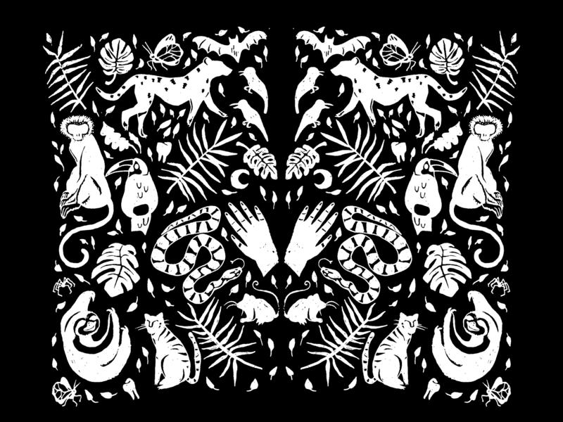 The World's a Jungle jungle logo illustration hand drawn branding