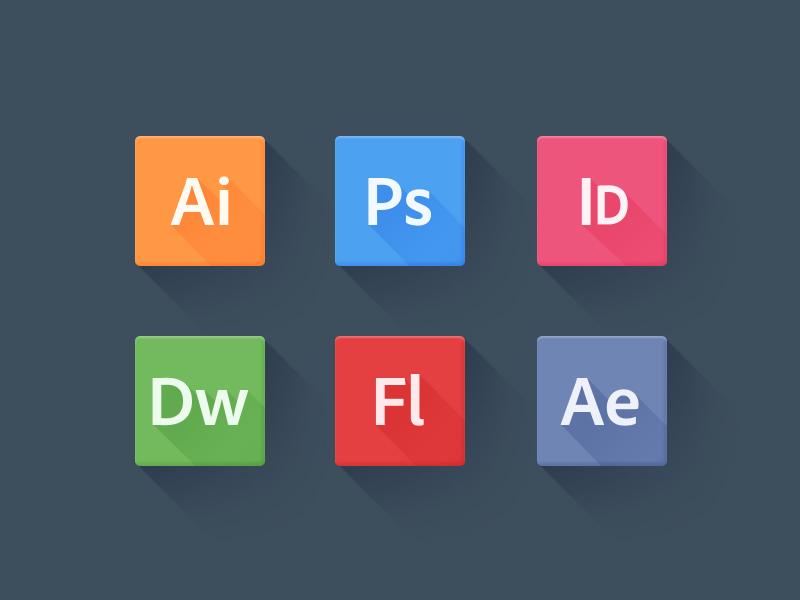 Long Shadow Adobe Icons long shadow new design trend adobe icons flat