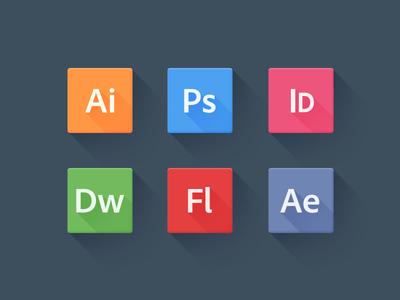 Long Shadow Adobe Icons