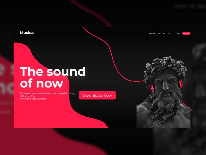 Musica minimalist uidesign interface branding landing page interaction clean web ui design clean ui website adobe photoshop ui ux design minimal adobexd