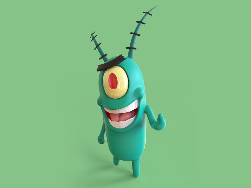 Sheldon J Plankton fanart spongebob squarepants spongebob plankton keyshot cartoon animal toon cartoon character cartoon art design 3dsmax illustration 3d illustration 3d artist 3d art