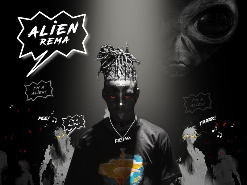 Rema Alien design music artwork typography music cover art
