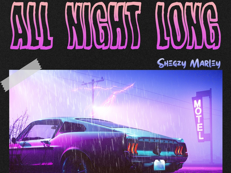 All Night Long typography design music cover art