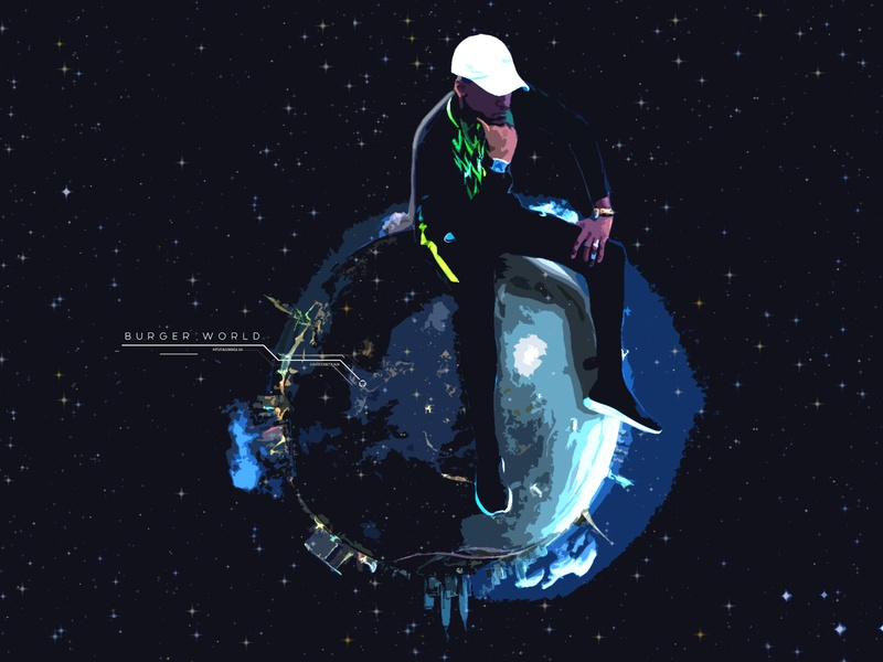 Burger WORLD future illustration music cover art