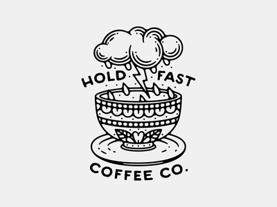 Hold Fast - Electric Brew illustration thin line storm cup cloud coffee shop cafe tattoo american traditional tattoo coffee tea cup lightning electric