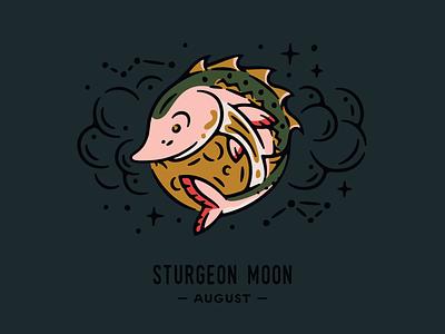 Sturgeon Moon lore algonquin clouds night sky illustration moon phases moon full moon sturgeon moon fish sturgeon